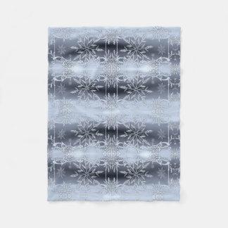 Elegant Silver Snowflake Christmas Fleece Blanket