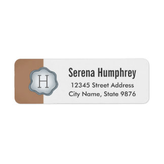 Elegant Silver Stamp Monogram on Chestnut Brown Return Address Label