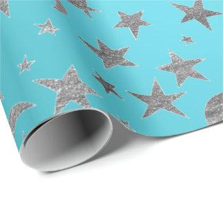 Elegant Silver Stars Moon Turquoise Aquamarine