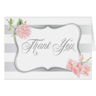 Elegant Silver Stripes Pink Hydrangeas Thank You Note Card