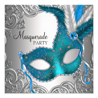 "Elegant Silver Teal Blue Masquerade Party 5.25"" Square Invitation Card"