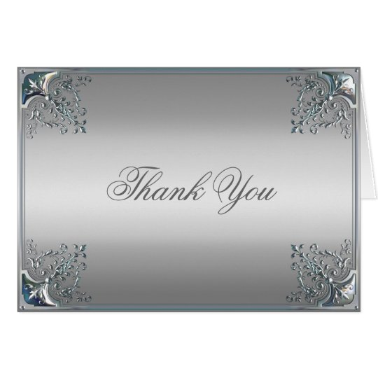 Elegant Silver Thank You Cards