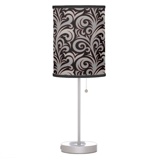 Elegant Silver Verdure Pattern Table Lamp