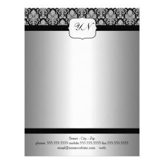 Elegant silver vintage damask letterhead