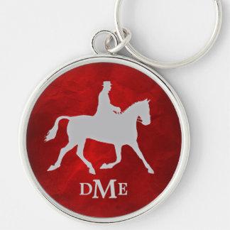 Elegant Silver Vintage Equestian Monogram Keychain