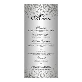 Elegant silver Wedding Menu Full Colour Rack Card