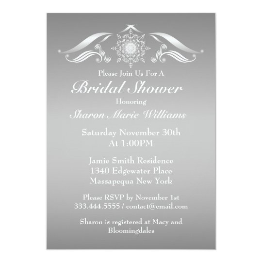 Elegant Silver White Bridal Shower Invitation