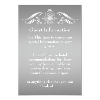 Elegant Silver White Guest Information Card