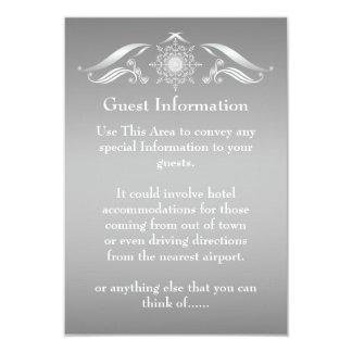 "Elegant Silver White Guest Information Card 3.5"" X 5"" Invitation Card"