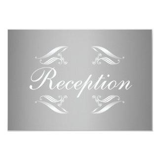 """Elegant Silver White Wedding Reception Card 3.5"""" X 5"""" Invitation Card"""