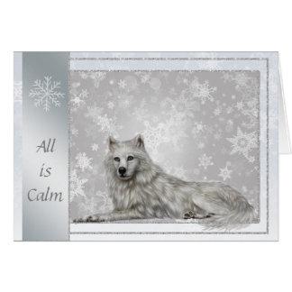 Elegant Silver Wolf Christmas Card