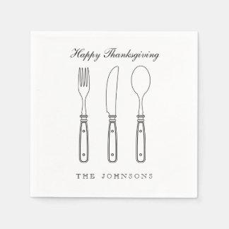 Elegant Silverware Happy Thanksgiving Napkin Paper Napkins