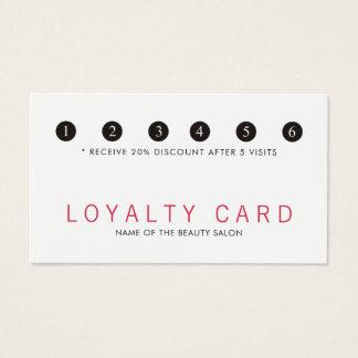 Elegant Simpla Red White Beauty Salon Loyalty Business Card