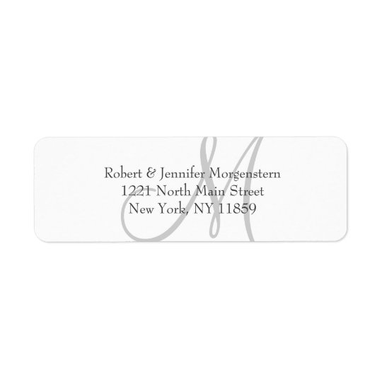 Elegant Simple Black White Grey Monogram Address