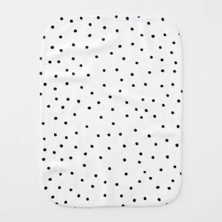 Elegant simple black white handdrawn polka dots baby burp cloth