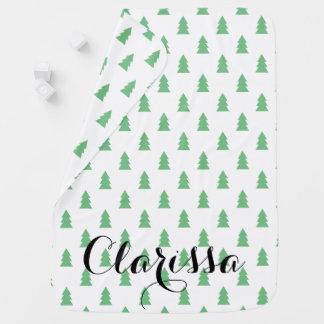Elegant Simple Christmas tree pattern pastel green Baby Blanket