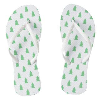 Elegant Simple Christmas tree pattern pastel green Flip Flops