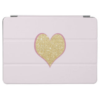 elegant simple clear gold glitter pink heart iPad air cover