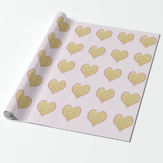 elegant simple clear gold glitter pink heart wrapping paper