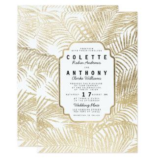Elegant simple faux gold palm tree floral Wedding Card
