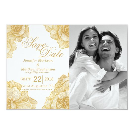 Elegant Simple Gold Floral Save the Dates Card