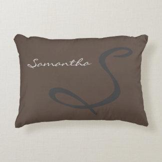 elegant simple modern chic trendy monogram gray accent pillow