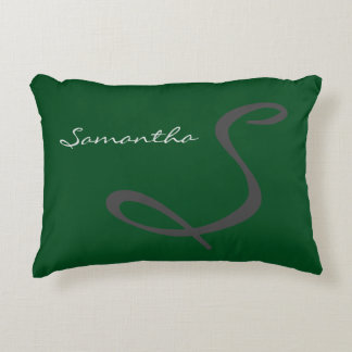 elegant simple modern chic trendy monogram green accent pillow