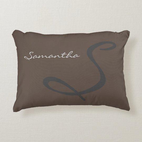 elegant simple modern chic trendy monogram grey accent pillow