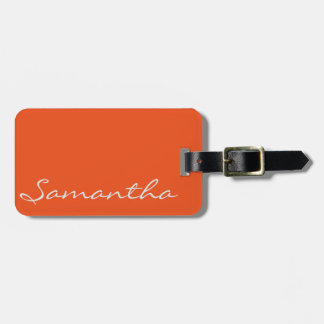 elegant simple modern chic trendy monogram orange luggage tag