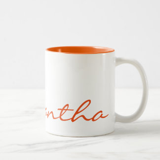 elegant simple modern chic trendy monogram orange Two-Tone coffee mug