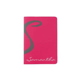 elegant simple modern chic trendy monogram pink passport holder