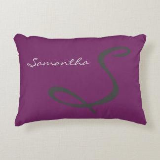 elegant simple modern chic trendy monogram purple accent pillow