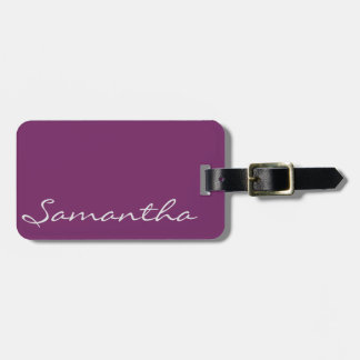 elegant simple modern chic trendy monogram purple luggage tag