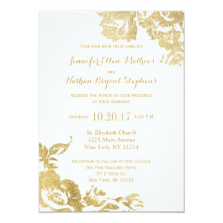 "Elegant Simple Modern Rose Floral Gold Faux Print 4.5"" X 6.25"" Invitation Card"