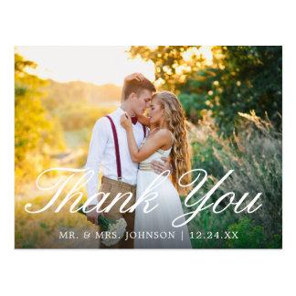 Elegant Simple Script Wedding Thank You Postcard