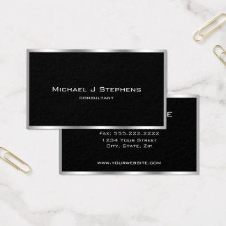 Elegant Simple Silver Border Black and Chrome Business Card