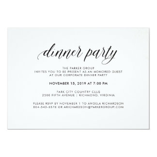 Elegant Simple Typography Dinner Party | Corporate Card