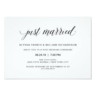 Elegant Simple Typography Just Married Celebration Card