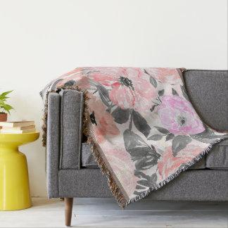 Elegant simple watercolor floral throw blanket