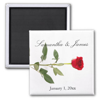 Elegant Single Long Stem Red Rose Magnet