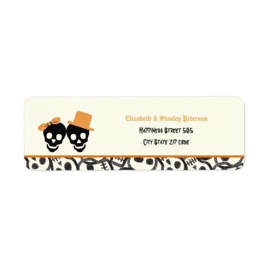 Elegant skulls Halloween orange wedding label Return Address Label