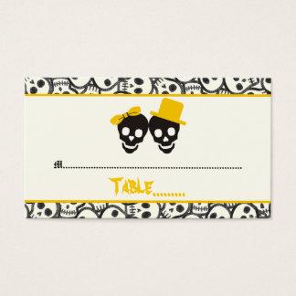 Elegant skulls Halloween yellow wedding place card