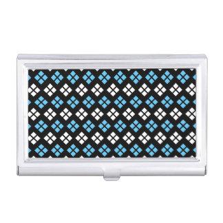 Elegant Sky Blue & White Argyle Pattern on Black Business Card Holder