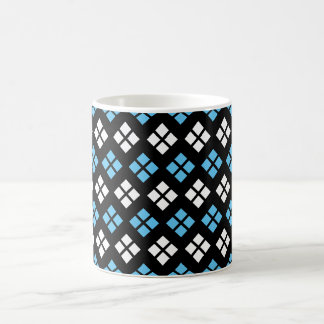 Elegant Sky Blue & White Argyle Pattern on Black Coffee Mug