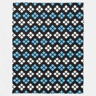 Elegant Sky Blue & White Argyle Pattern on Black Fleece Blanket