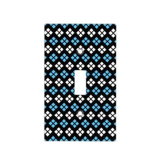 Elegant Sky Blue & White Argyle Pattern on Black Light Switch Cover