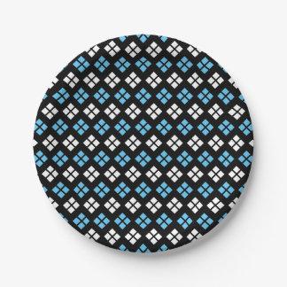 Elegant Sky Blue & White Argyle Pattern on Black Paper Plate