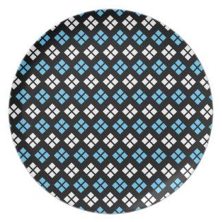 Elegant Sky Blue & White Argyle Pattern on Black Plate