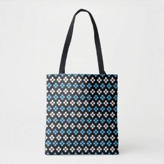 Elegant Sky Blue & White Argyle Pattern on Black Tote Bag