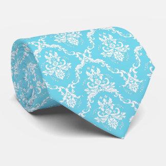 Elegant Sky Blue & White Damasks Tie